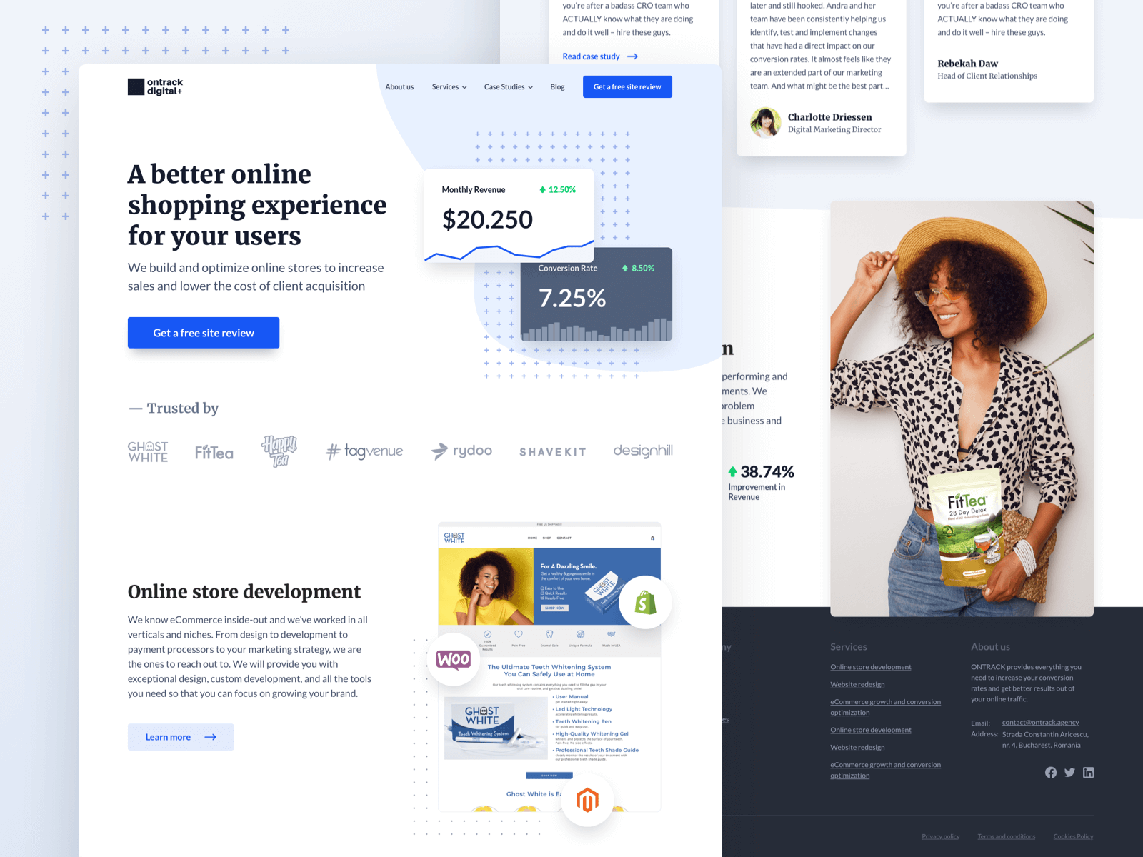 Landing page design for a digital agency that focuses on online stores