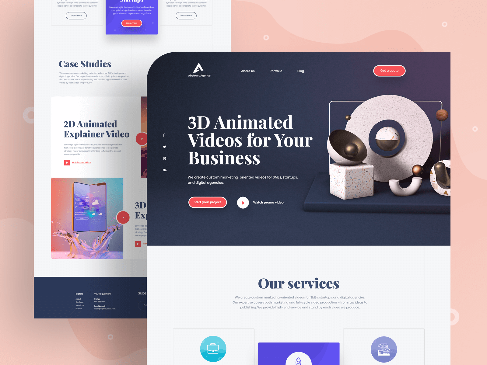 Landing page design for a creative agency