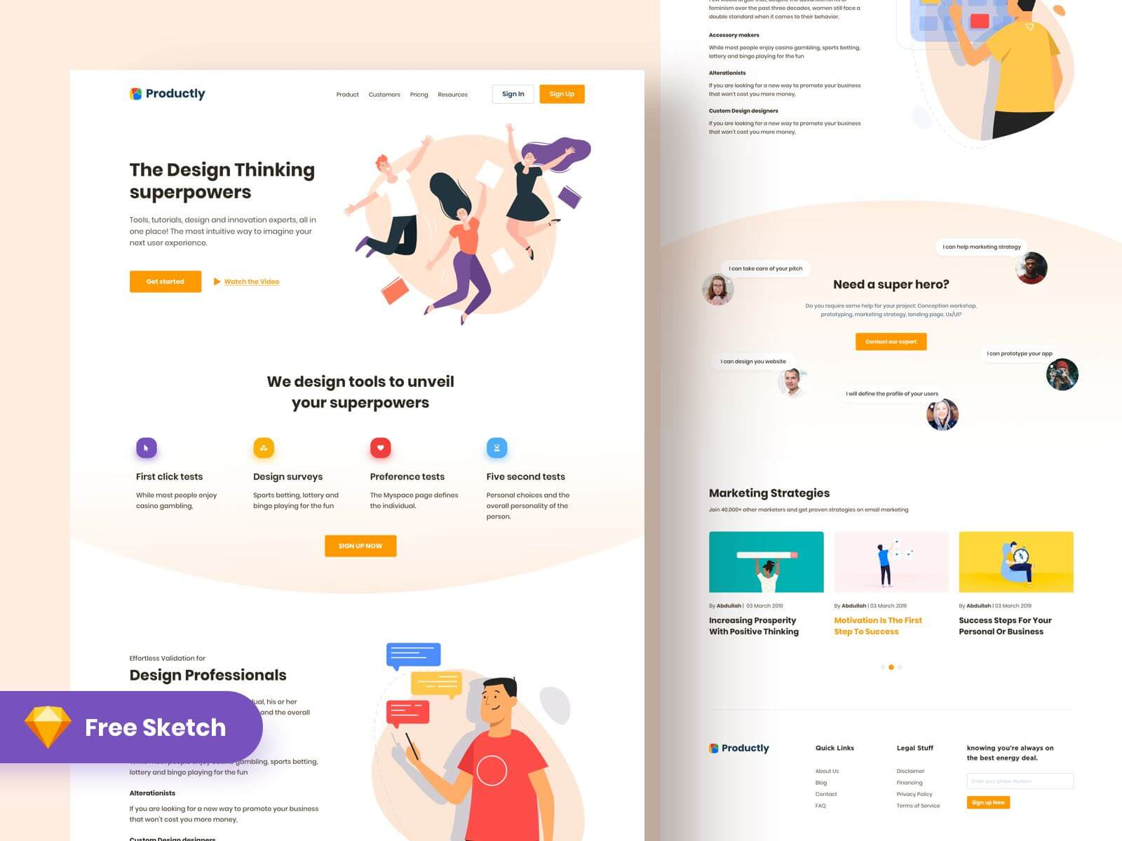 Landing page design for Productly