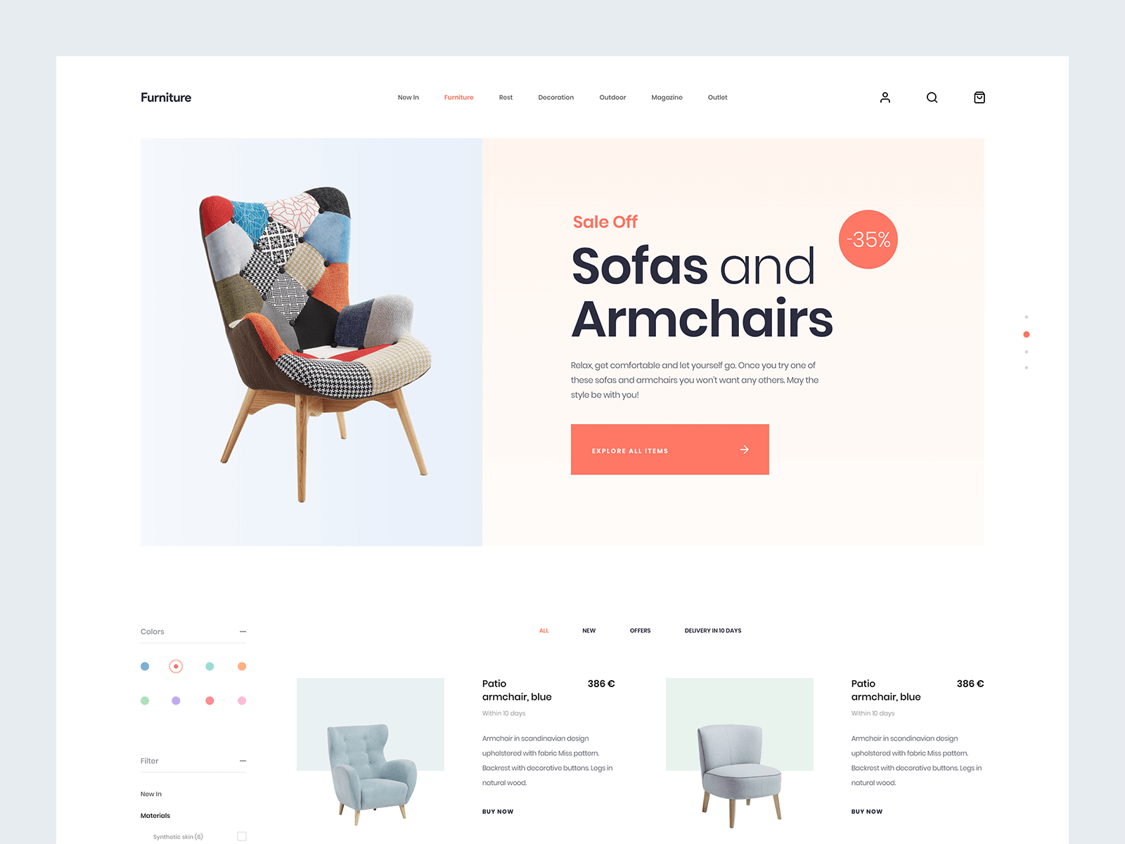Landing page design for a furniture company