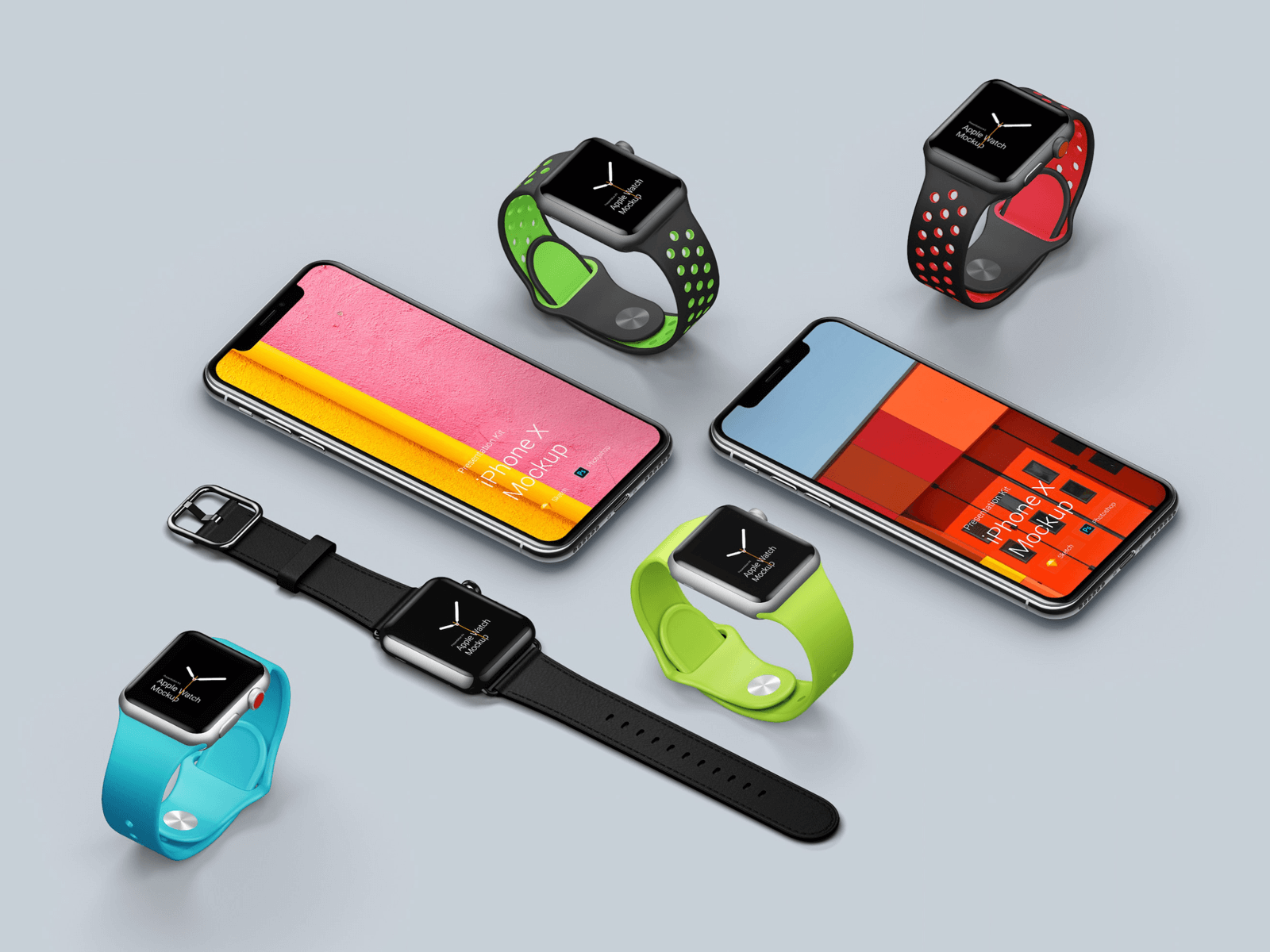 Preview of some device mockups from the Presentation Kit