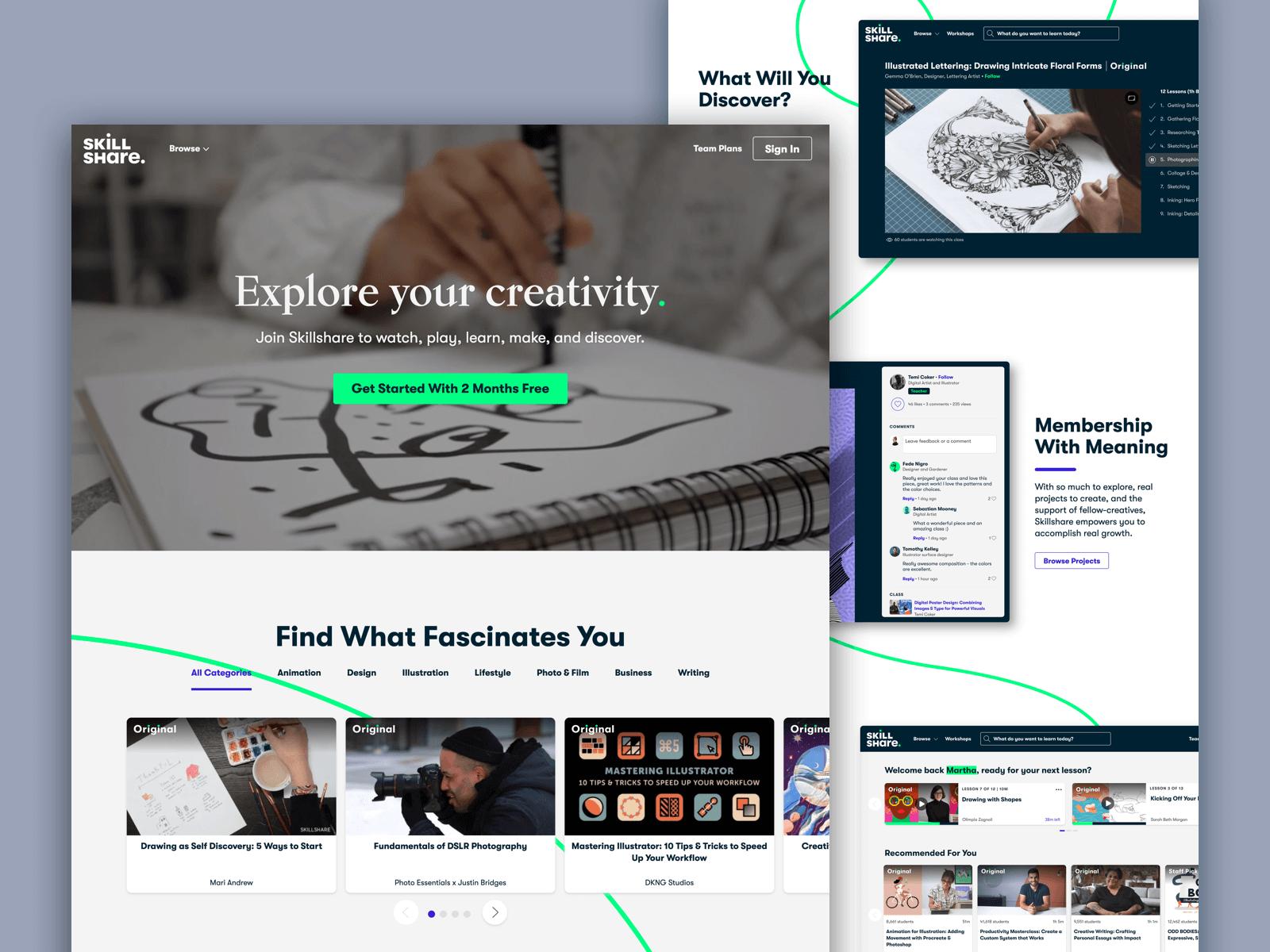 Screenshot of the Skillshare website