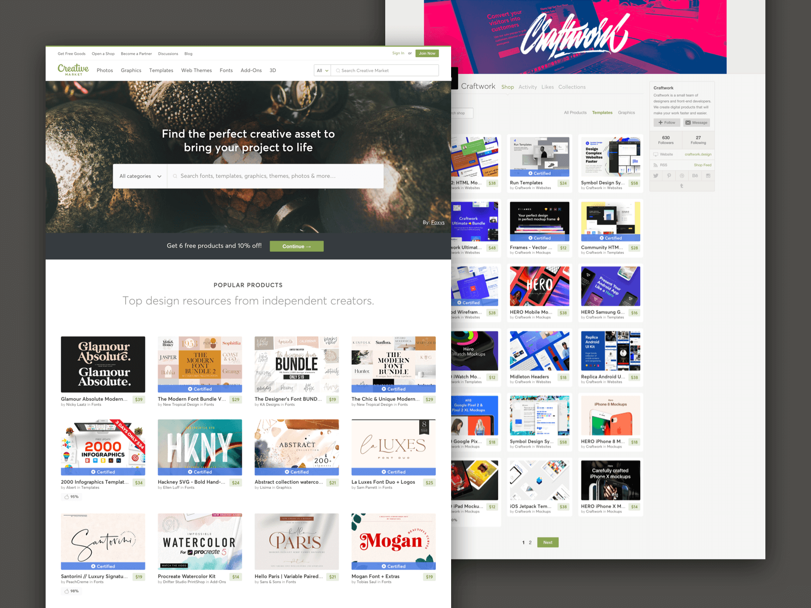 Screenshot of the Creative Market website