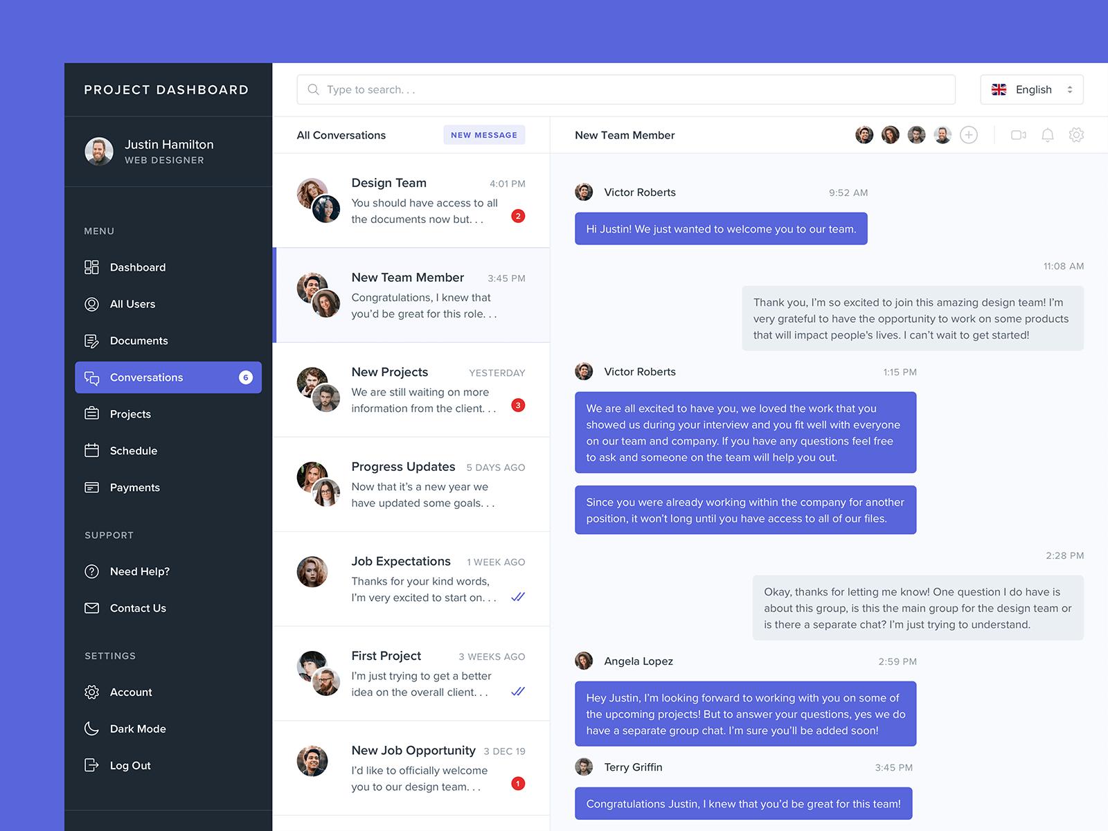 Screenshot of a project management dashboard design