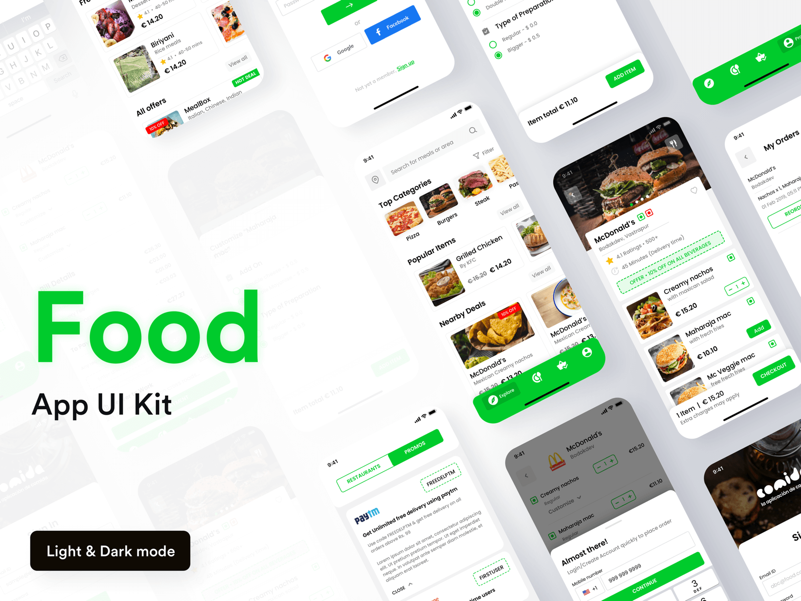 Different app screens for a food order app