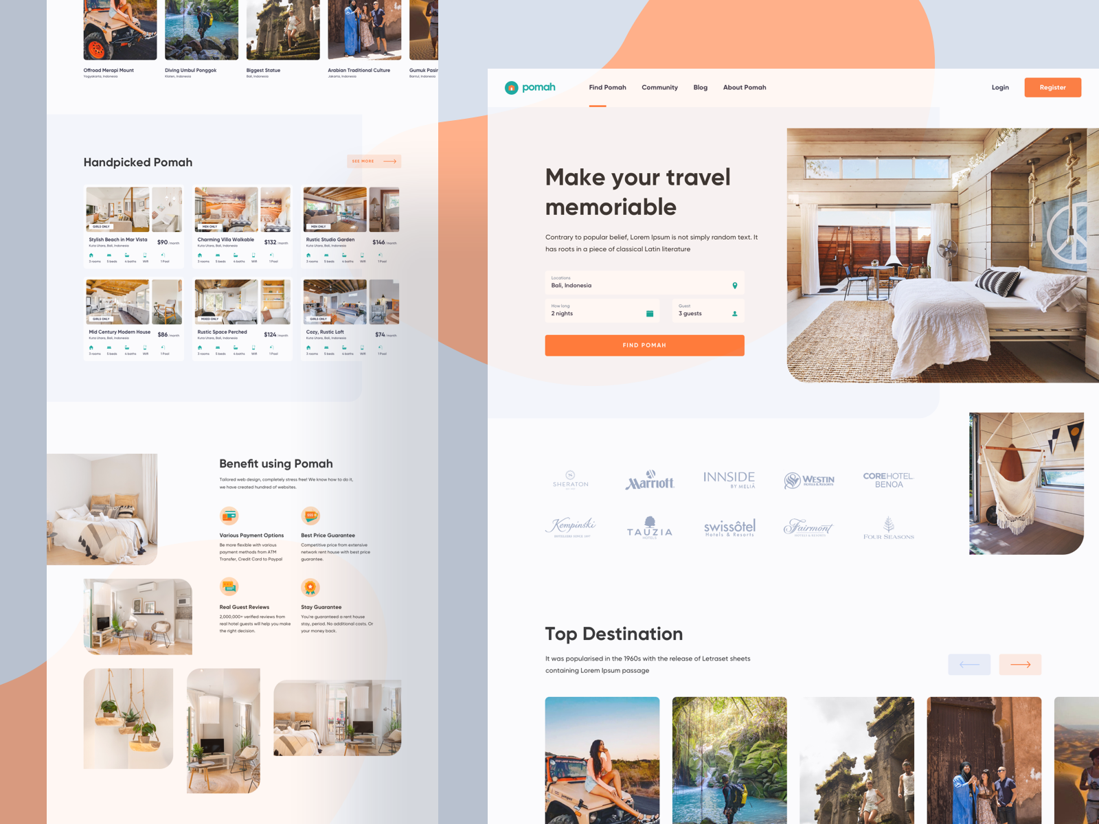 Homepage design for a hotel booking website