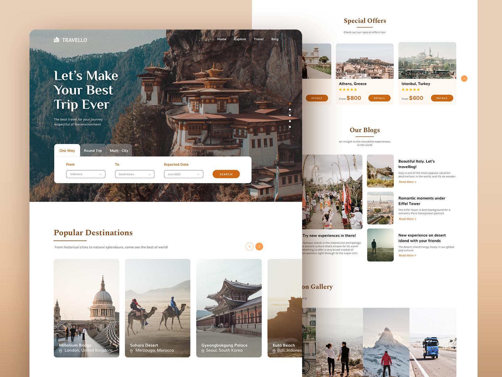 Homepage design for a hotel booking platform