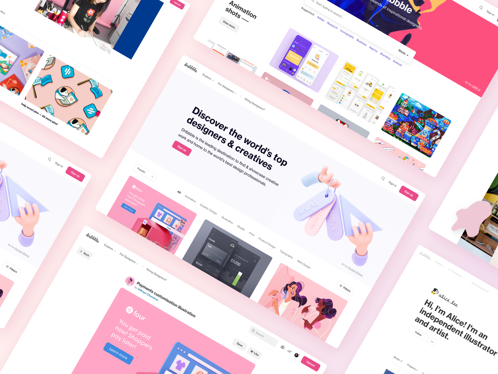 Screenshots of different screens for Dribbble