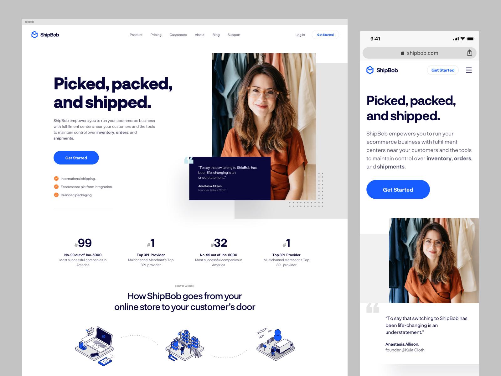 Website design for ShipBob