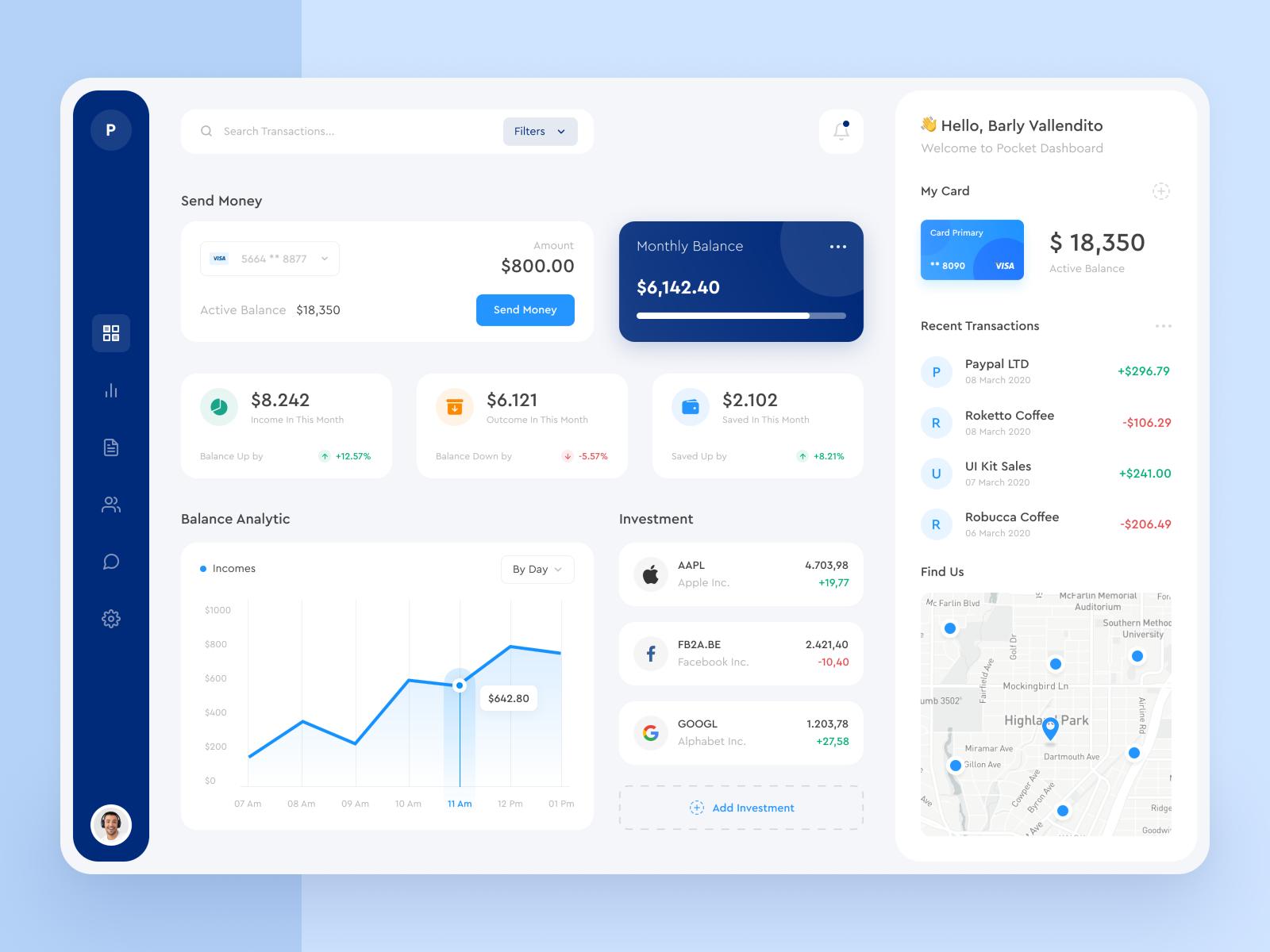 Dashboard design for a web app