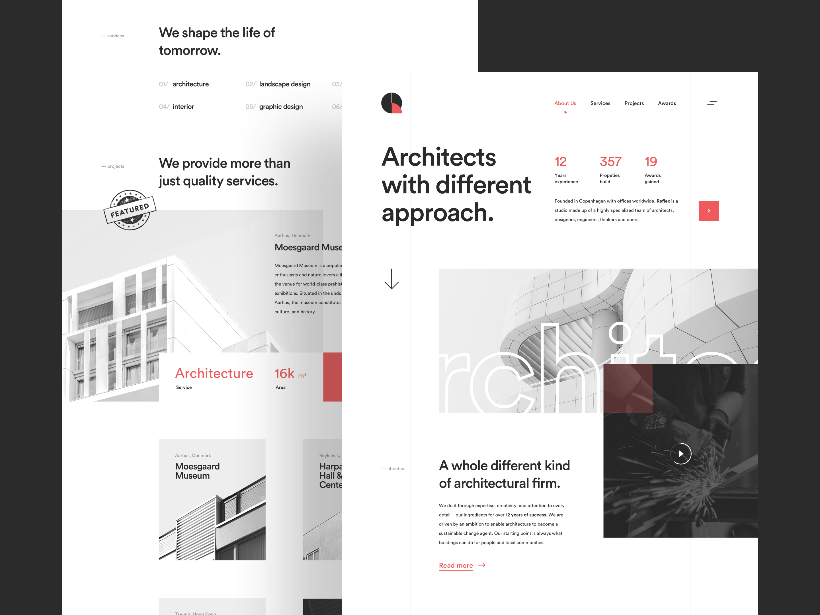 Website design for an Architect Landing Page