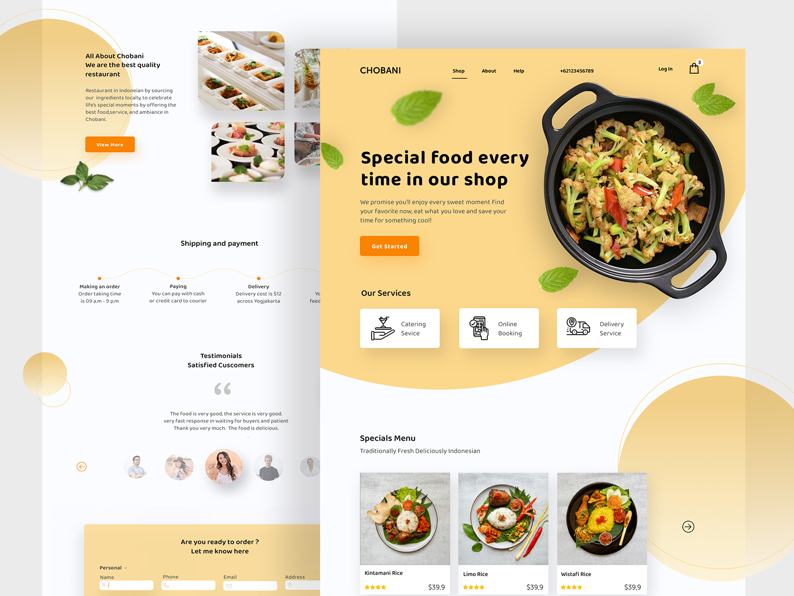 Landing page design for Chobani