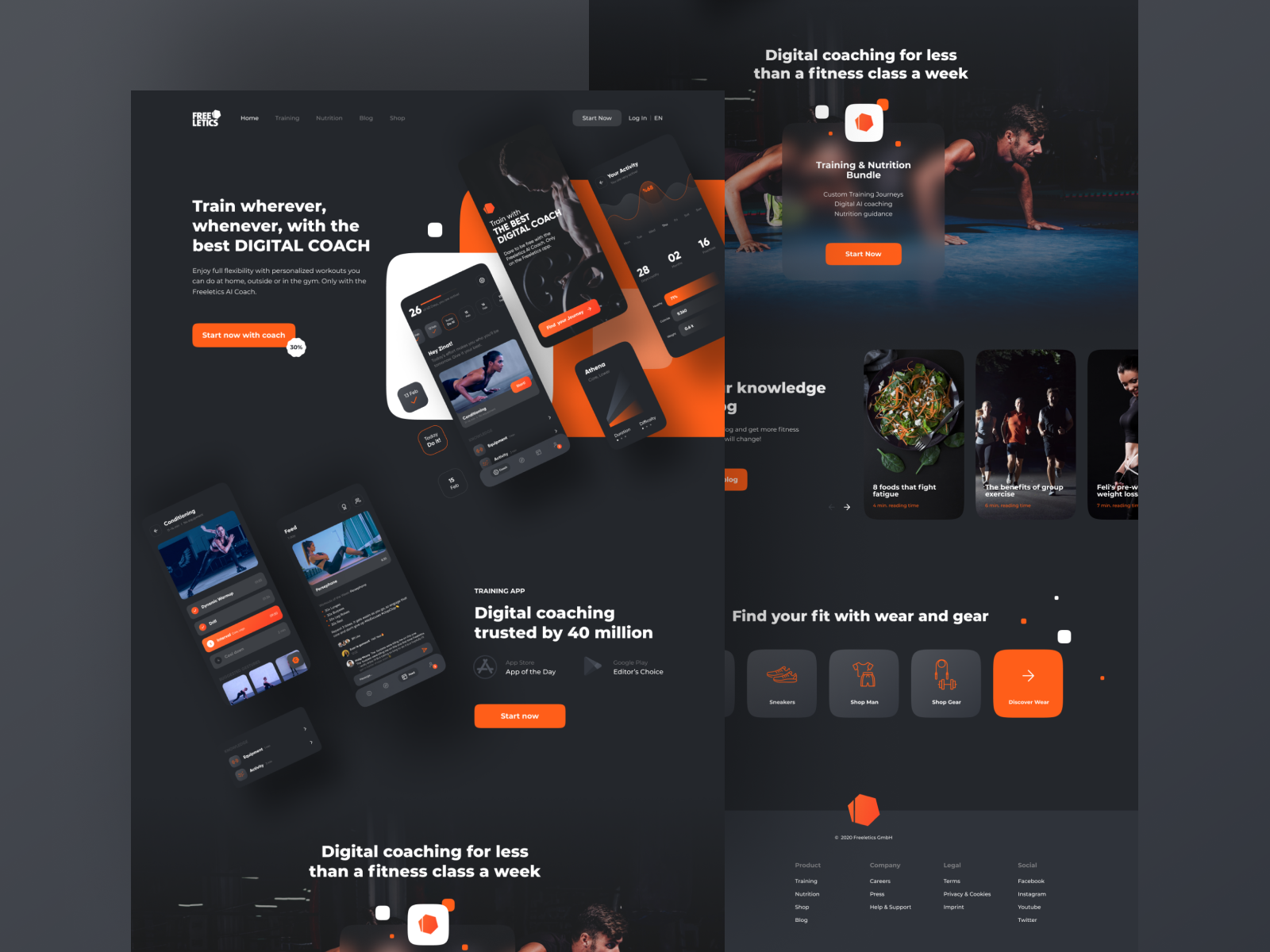 Landing page design for a fitness app
