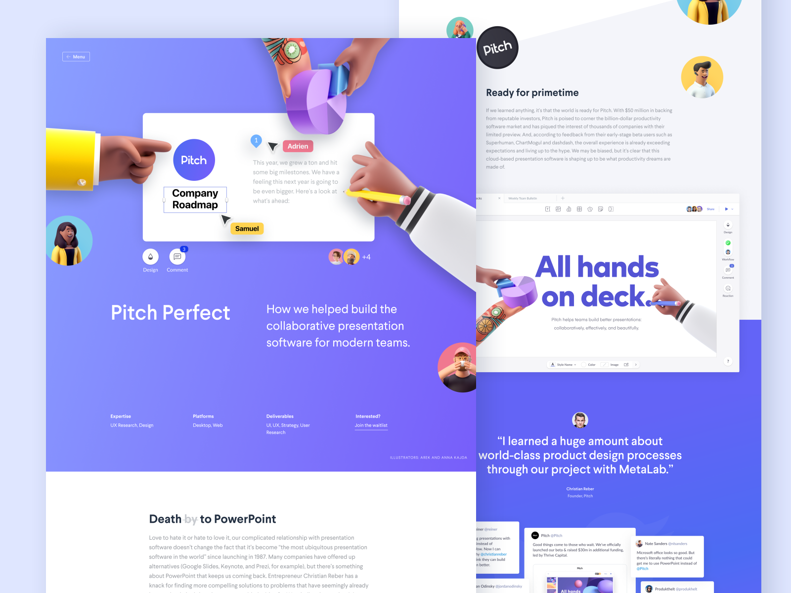 Case study design for Pitch by MetaLab