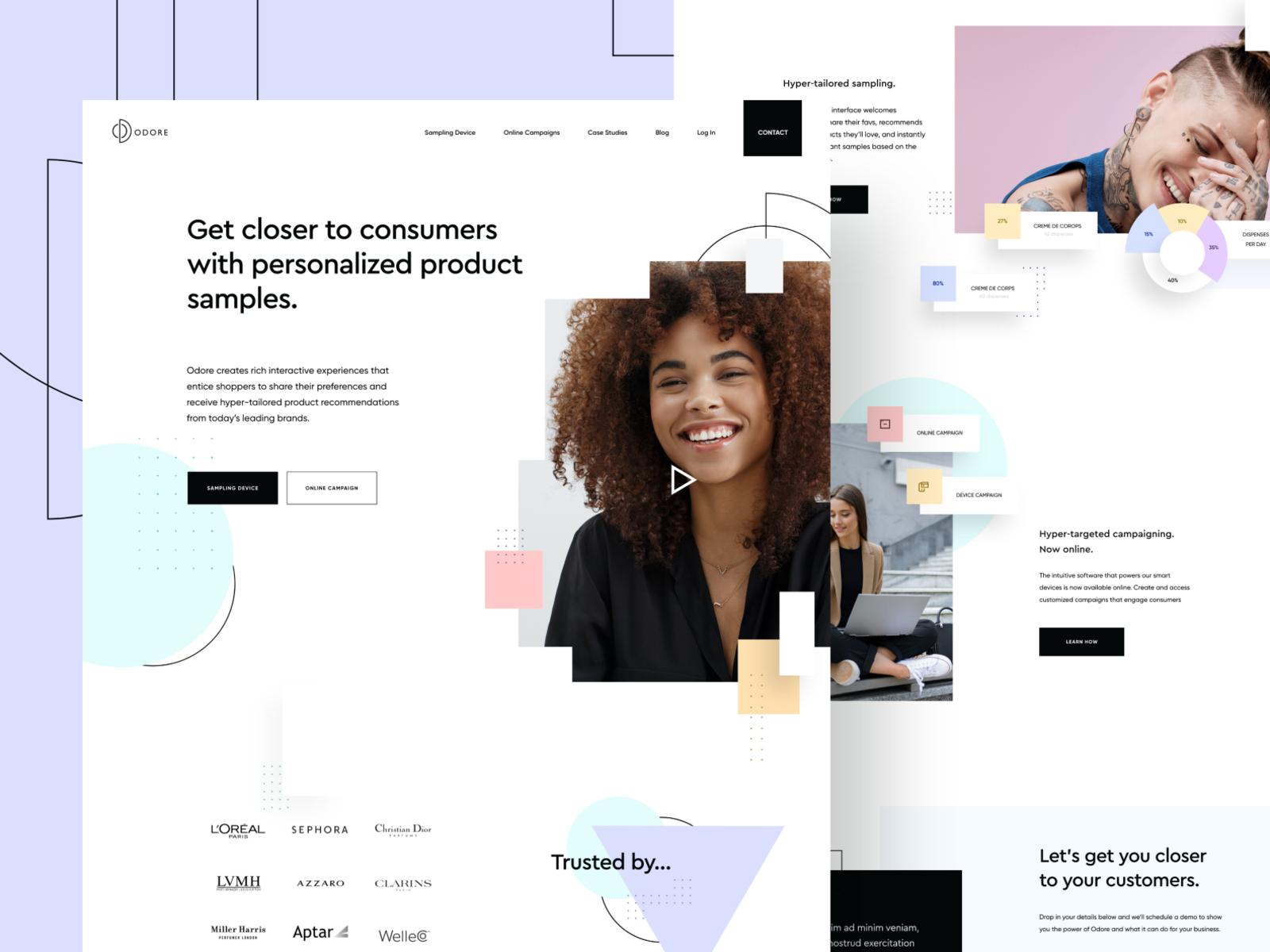 Homepage design for Odore