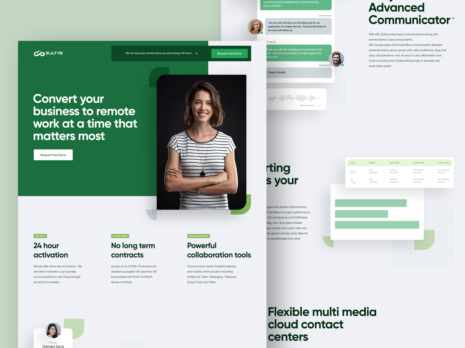Landing page design for Zultys COVID Work From Home