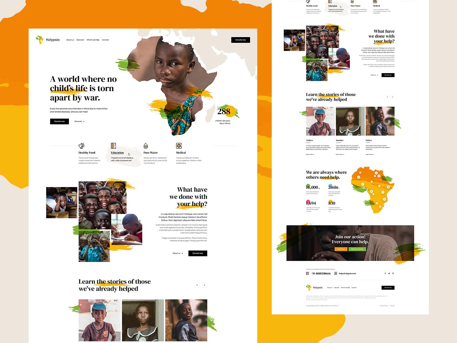 Homepage design for NGO Kalypsia