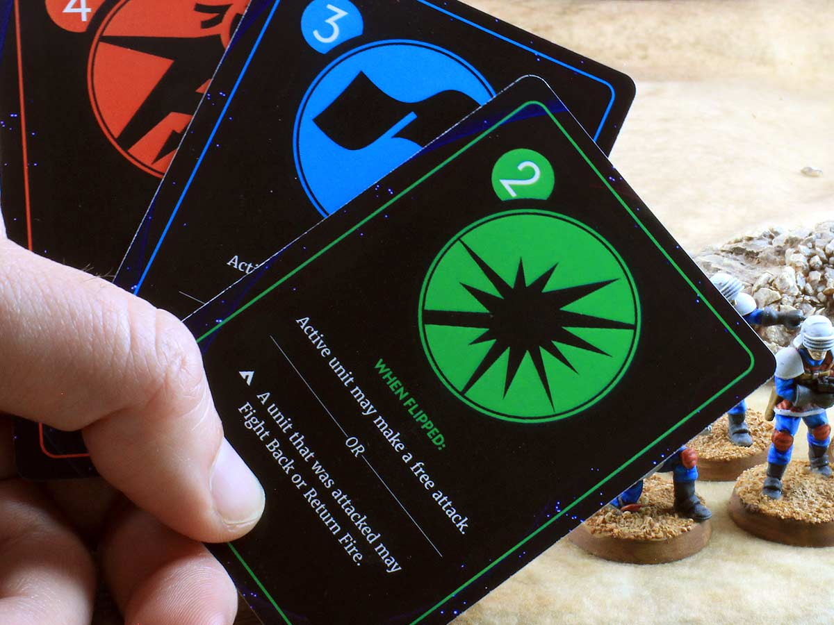 A hand of cards gives each player tactical flexibility.