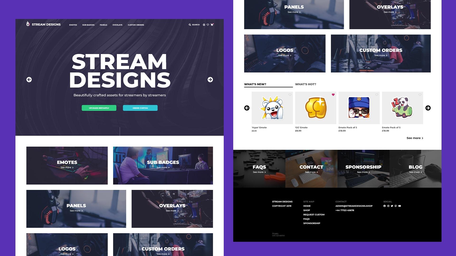 Stream designs desktop site