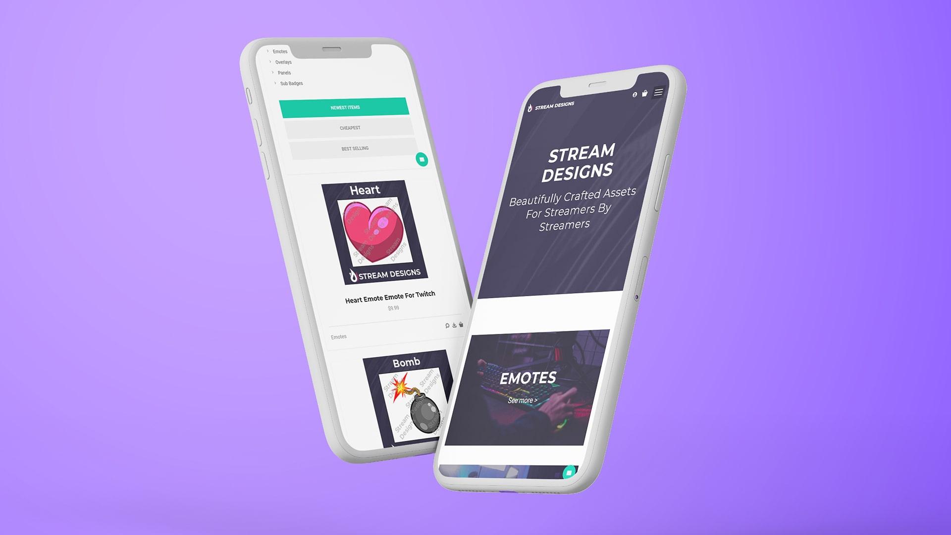 Stream designs mobile site