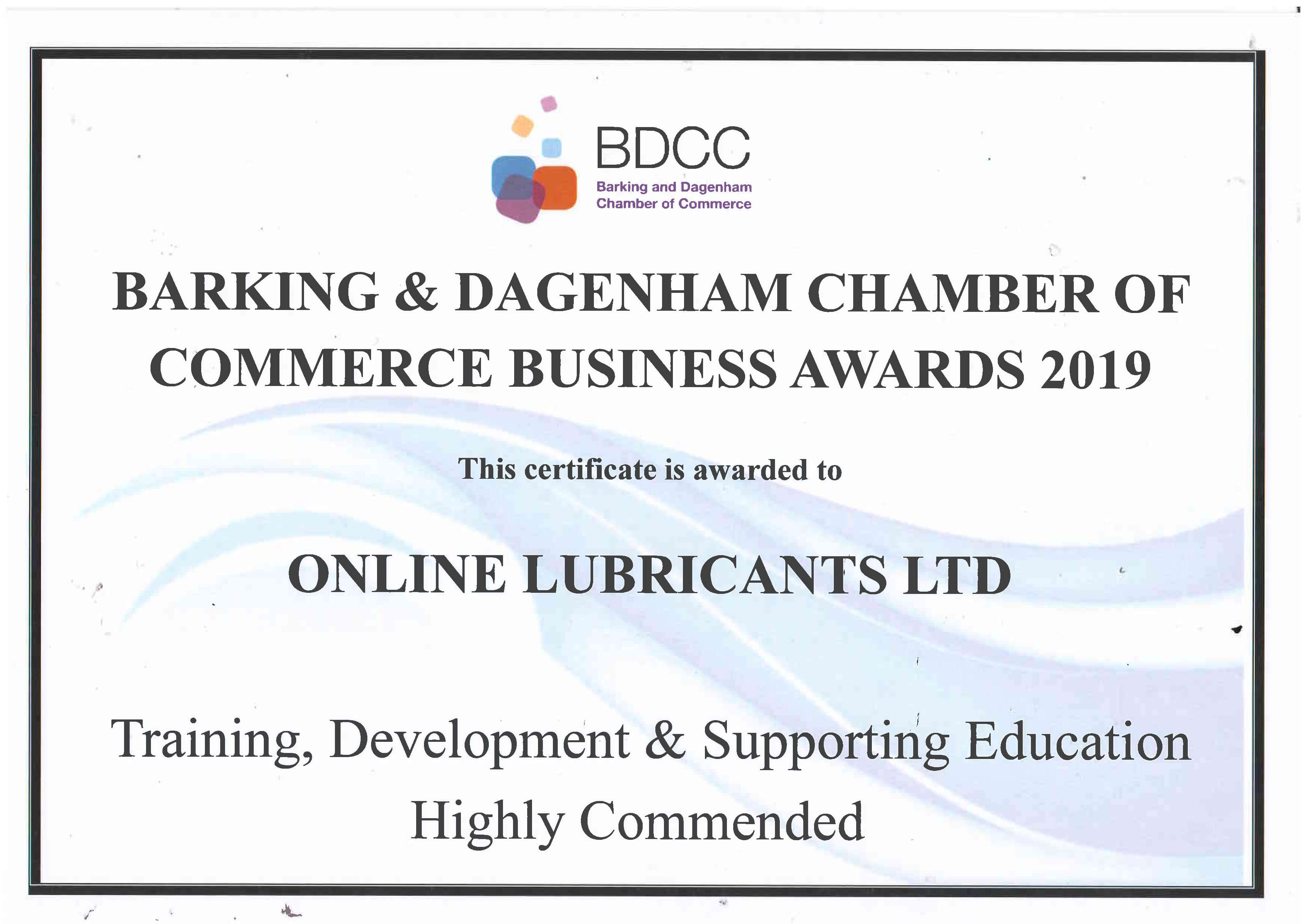 Certificate for Training, Development & Supporting Education - Online Lubricants