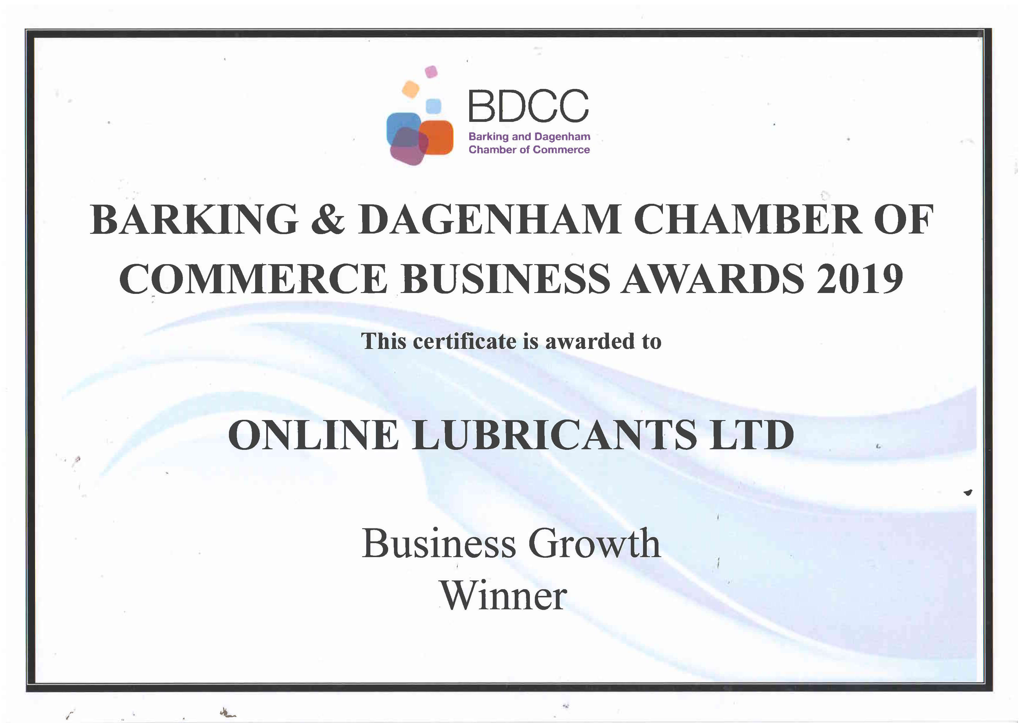 Certificate for Business Growth - Online Lubricants