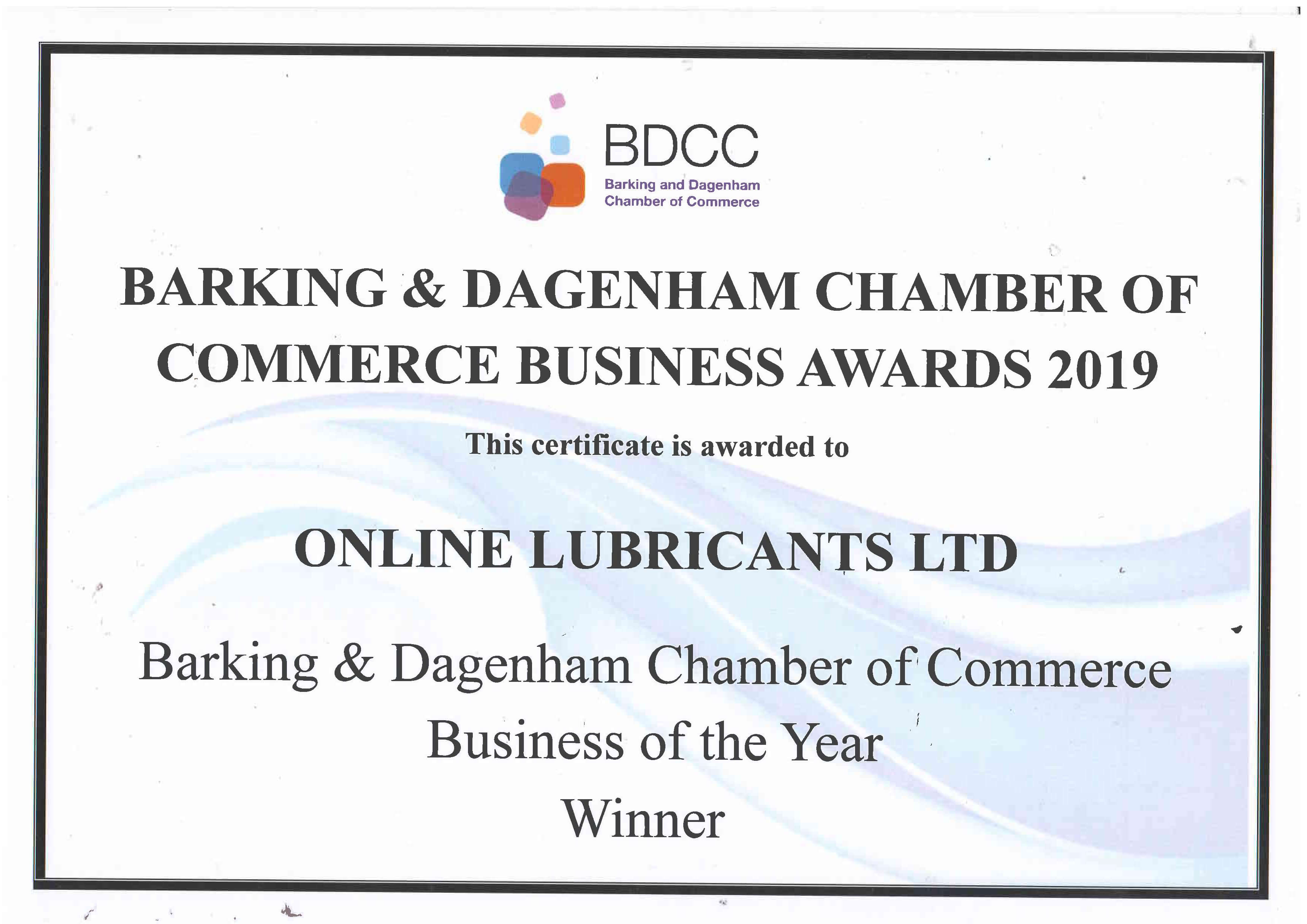Certificate for Business of the Year - Online Lubricants