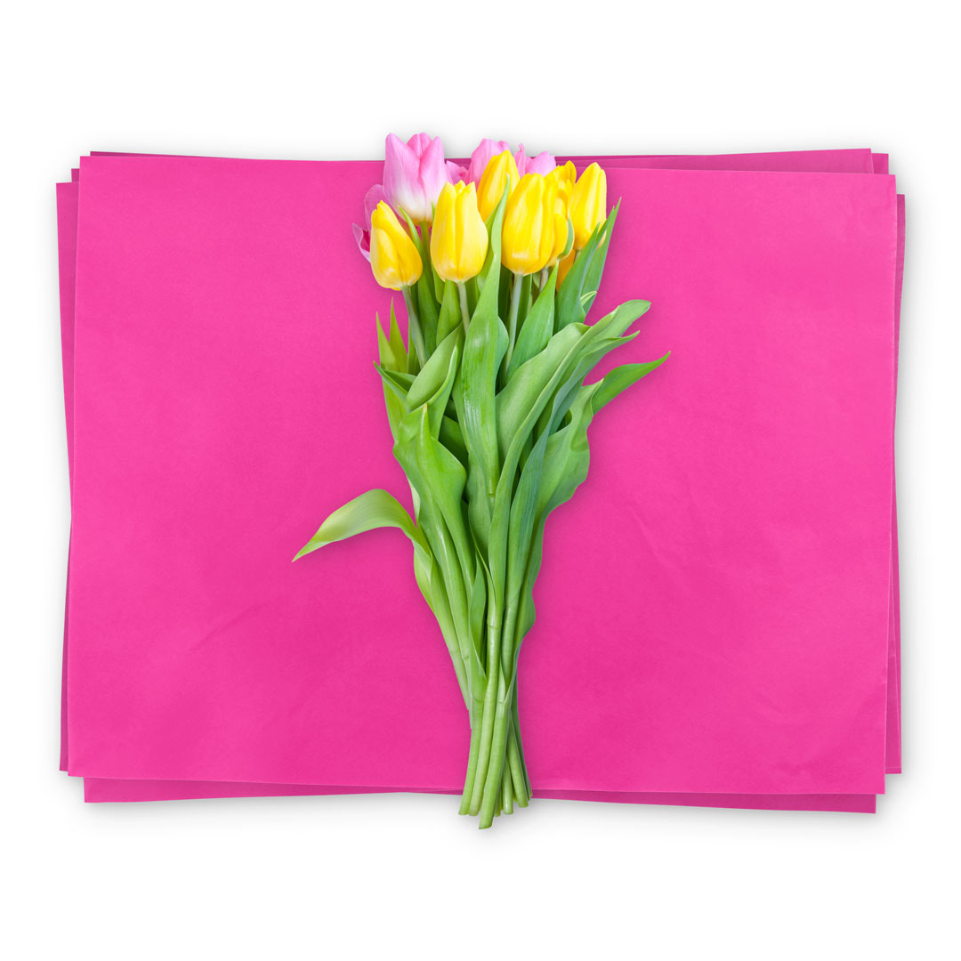 Waxed floral tissue paper
