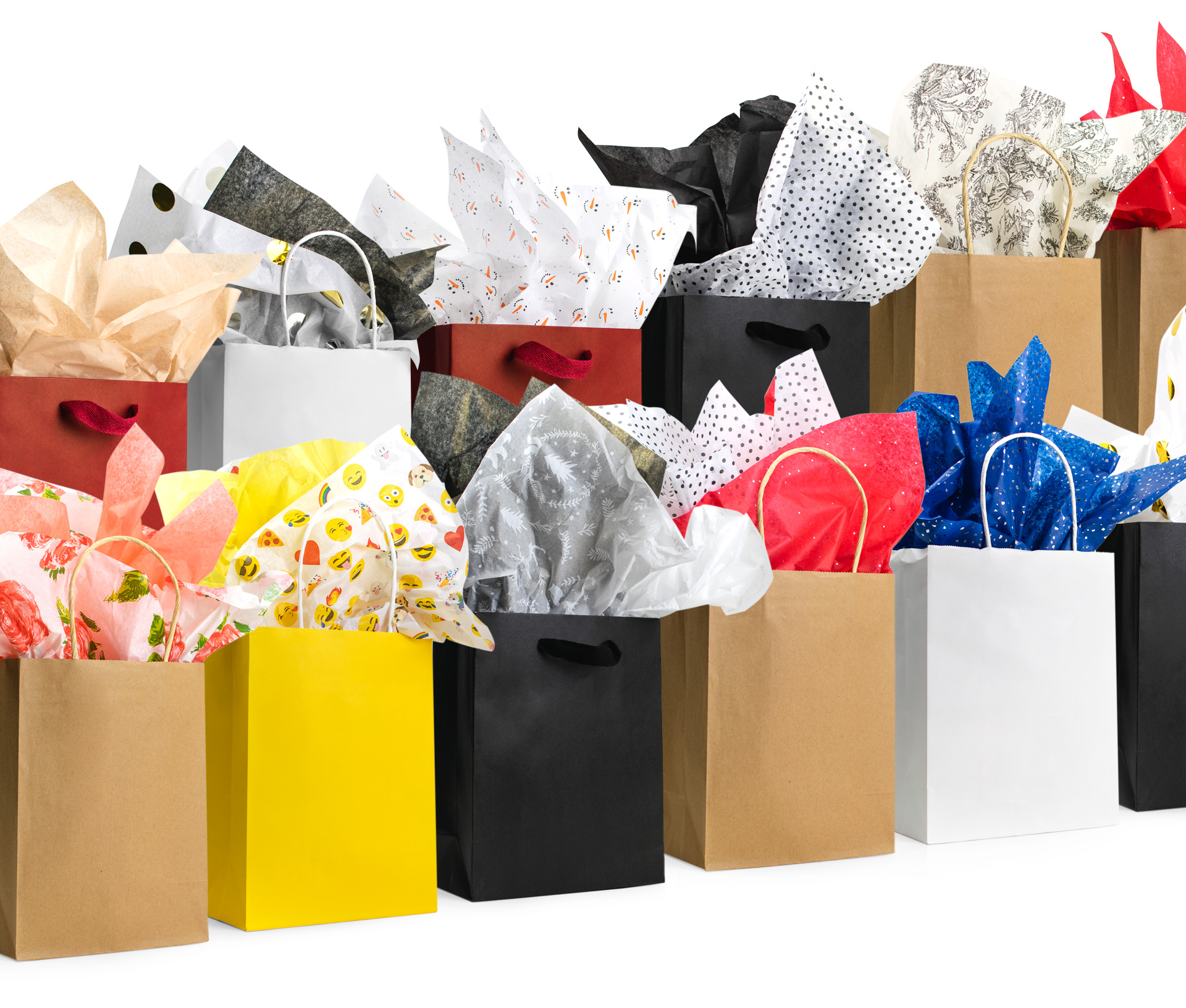 Various gift bags with tissue paper inside