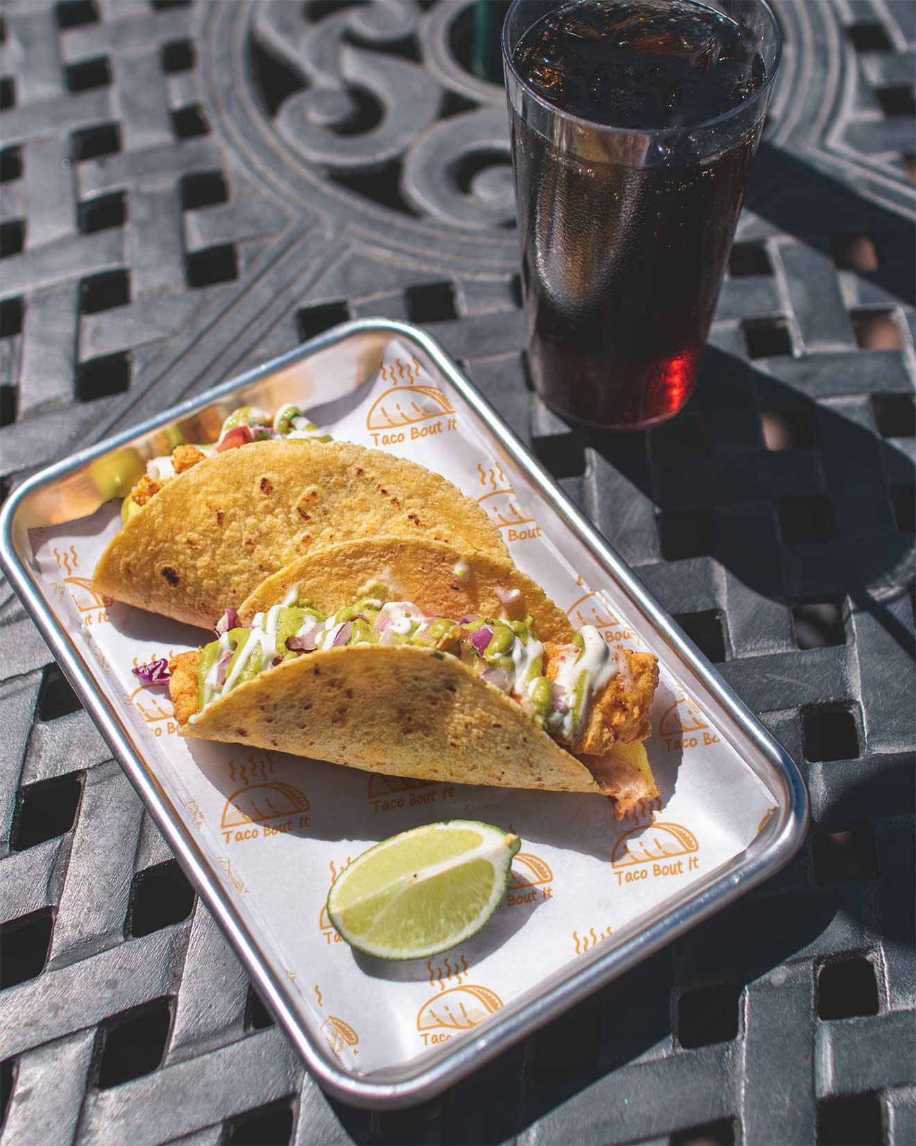 Tacos with custom printed food paper