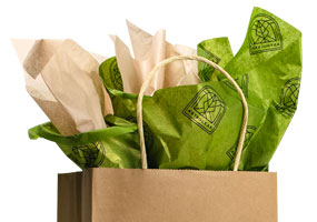 gift bag with pearlescent tissue paper inside