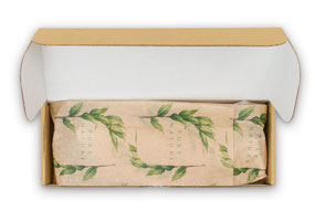 eCommerce box with custom tissue paper inside