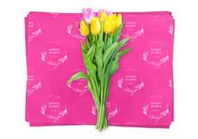 Custom printed bright pink waxed paper with flowers on top