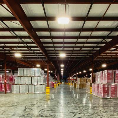 Seaman Paper warehouse showing LED lighting