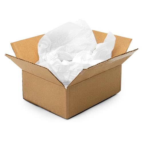 Recycled white tissue paper in a plain kraft box