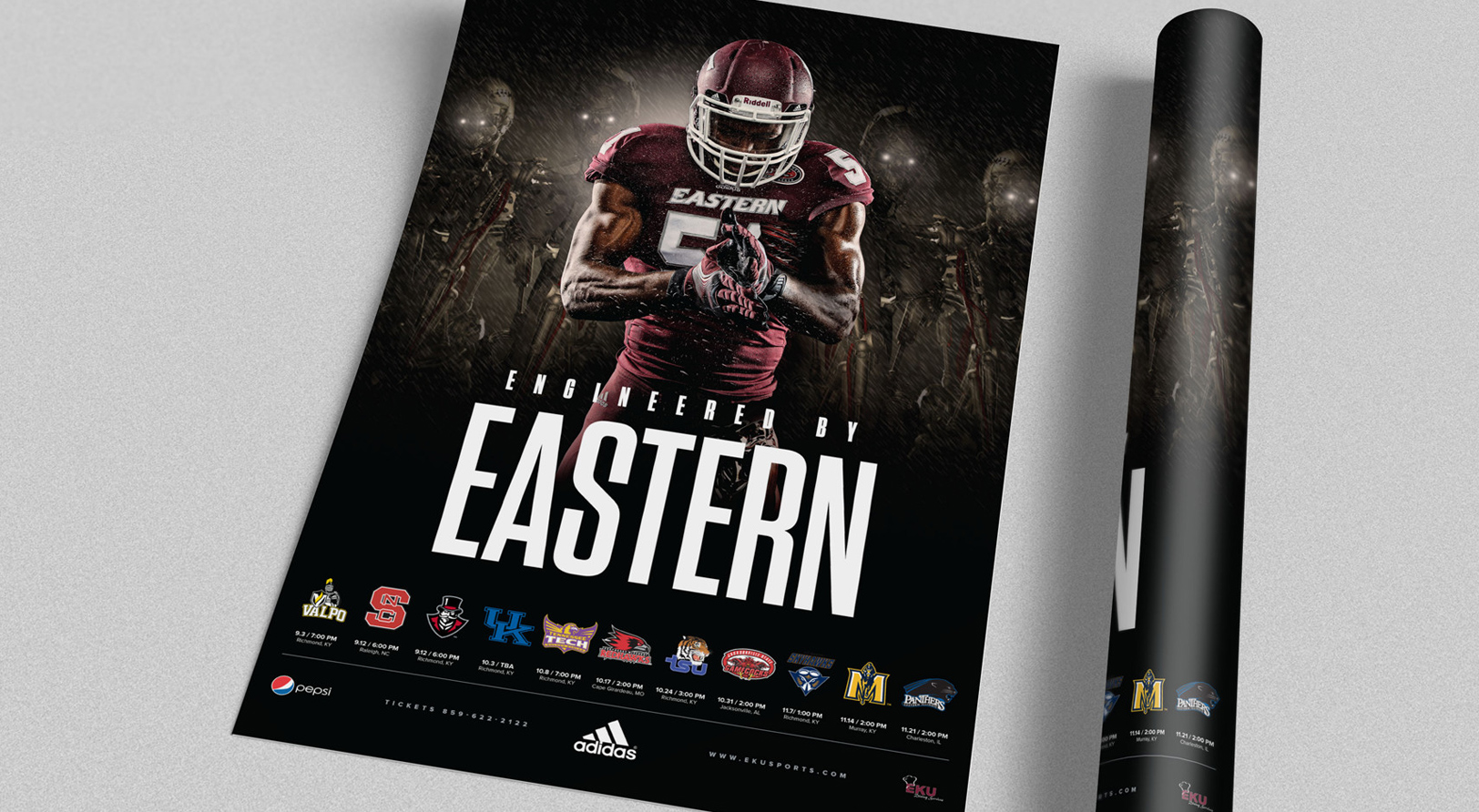 EKU Football sports design poster for the 2014 Sports Marketing campaign
