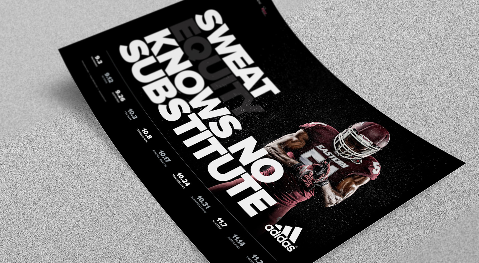 EKU Football sports poster design concept for the 2014 Sports Marketing campaign