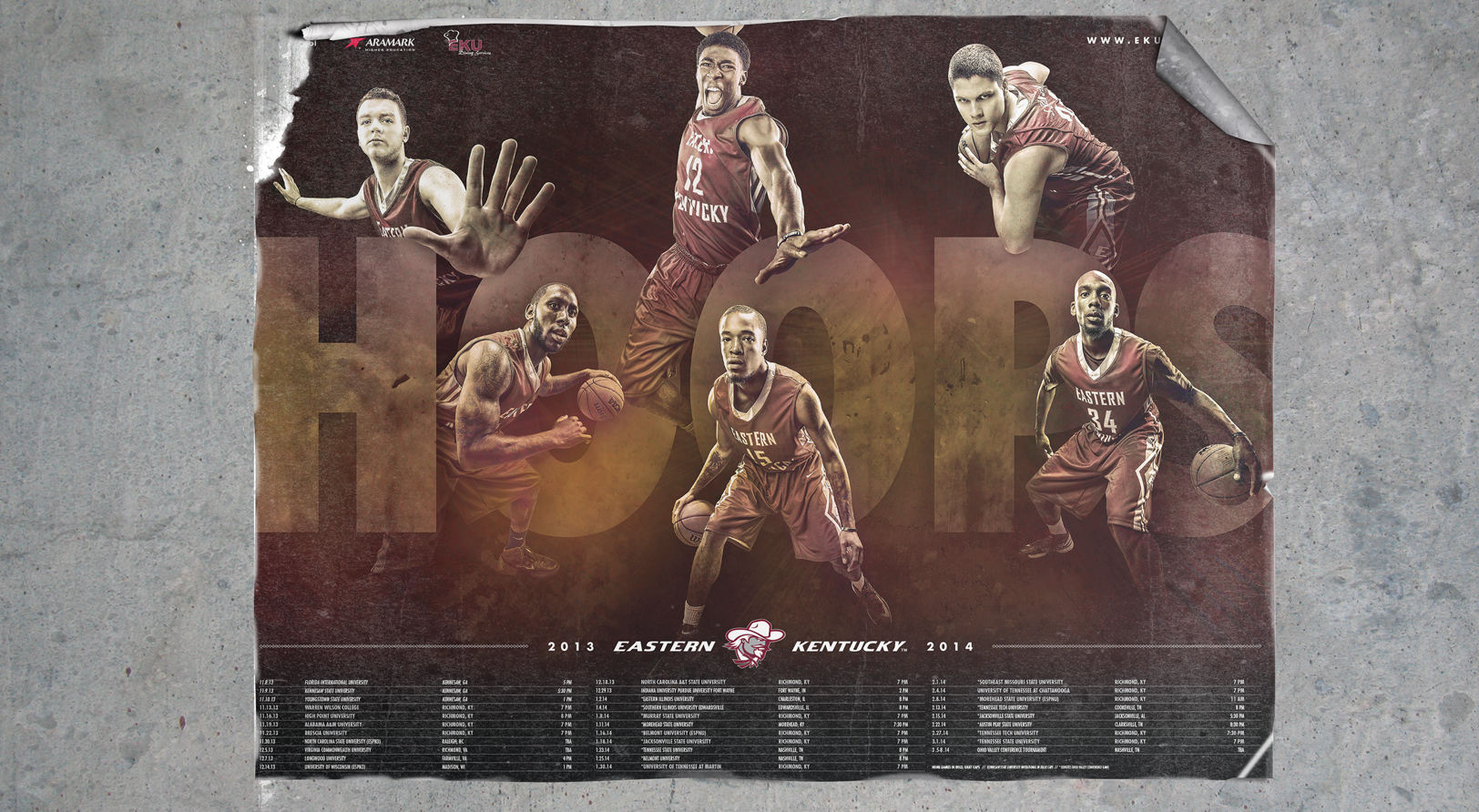 EKU men's basketball sports design concept for the 2013-14 Sports Marketing campaign poster
