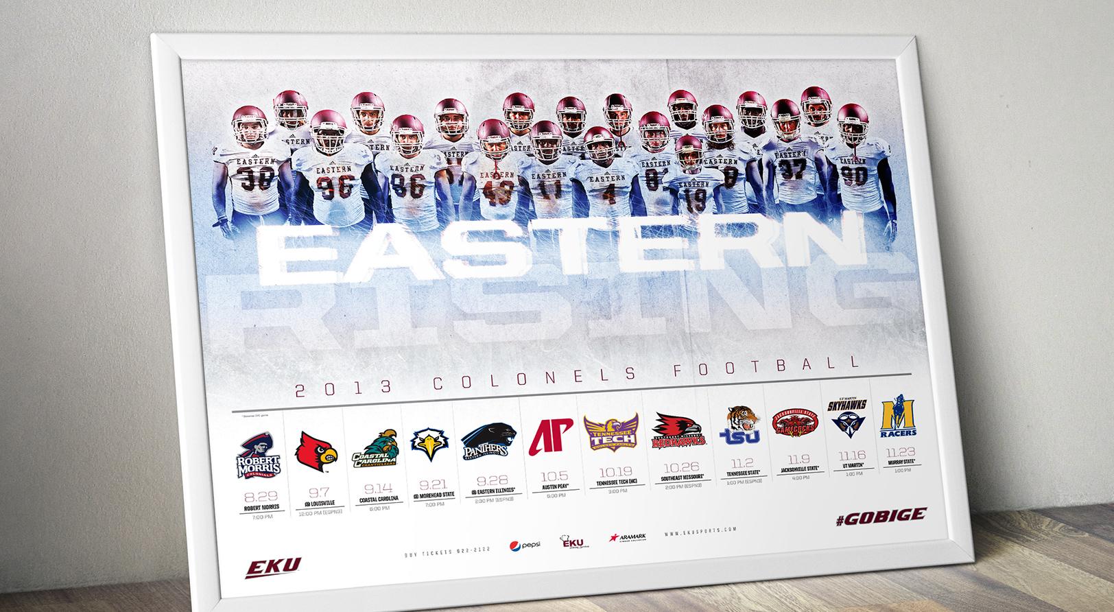 Sports design for the 2013 EKU football season's sports marketing campaign
