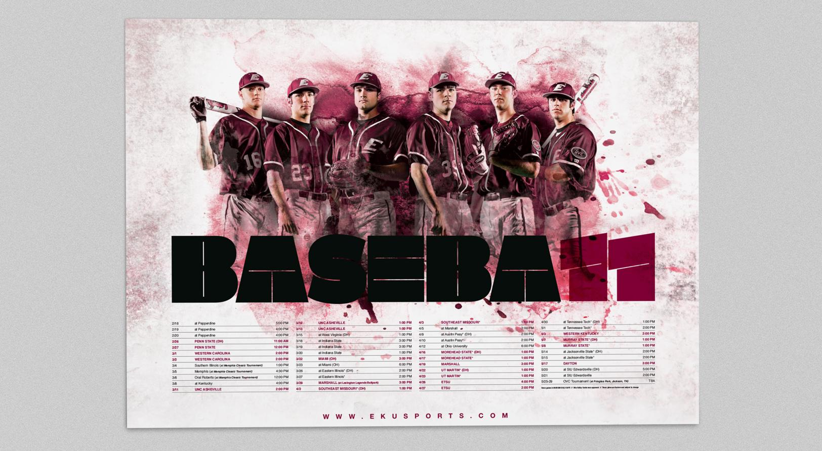 Sports Design for the 2011 EKU Baseball season's sports marketing campaign