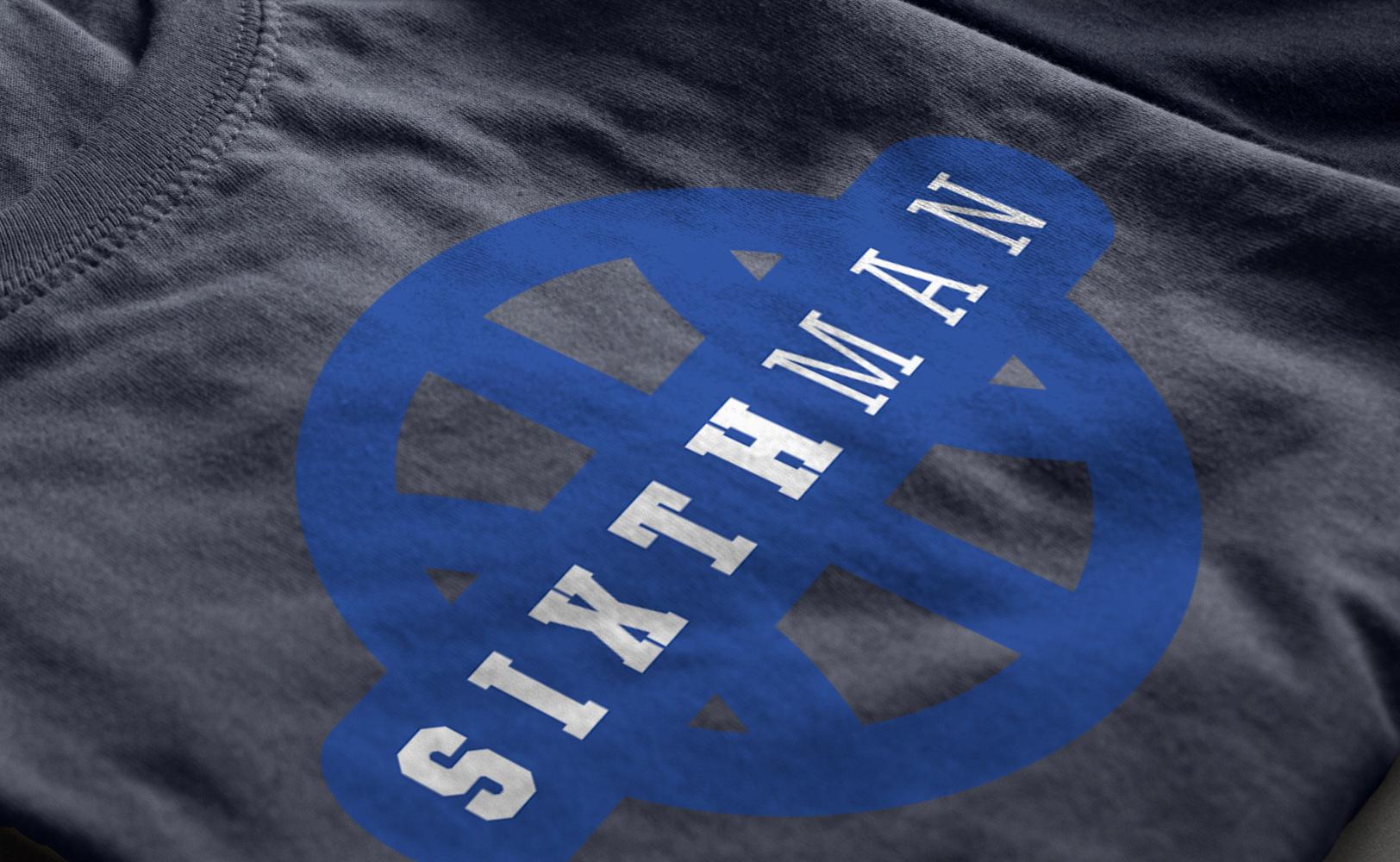 Sports branding logo on a Sixth Man documentary t-shirt