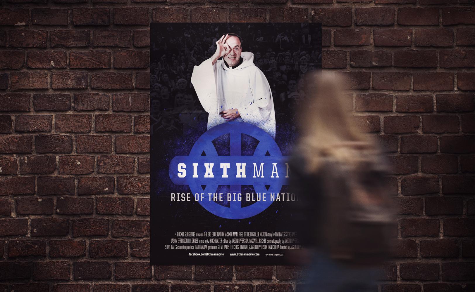 Sports design of The Sixth Man documentary catholic priest film poster