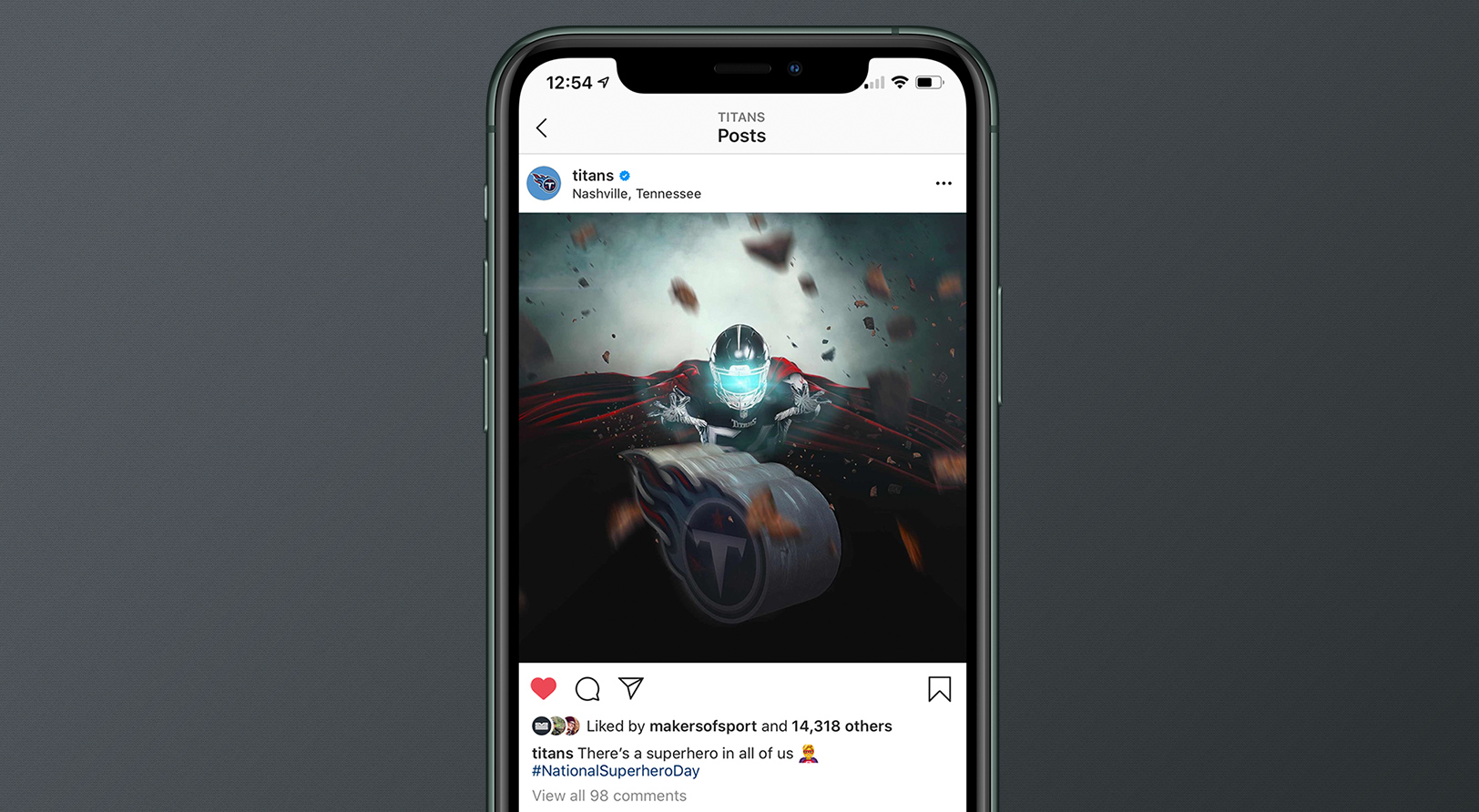 Sports Design / SMsports ›› Visual Design Composite for National Superhero Day for the Tennessee Titans Instagram Screenshot