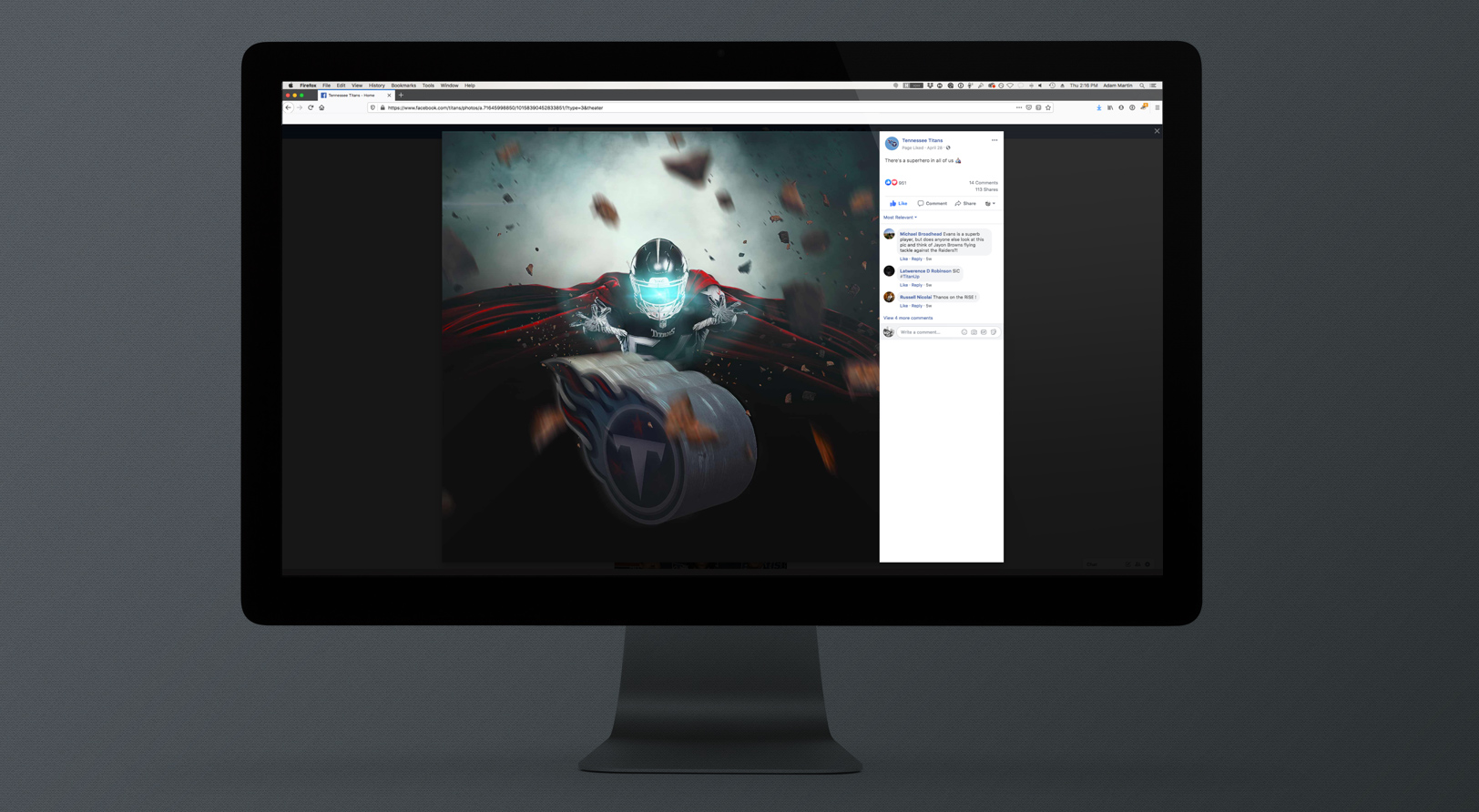 Sports Design / SMsports ›› Visual Design Composite for National Superhero Day for the Tennessee Titans on iMac screen