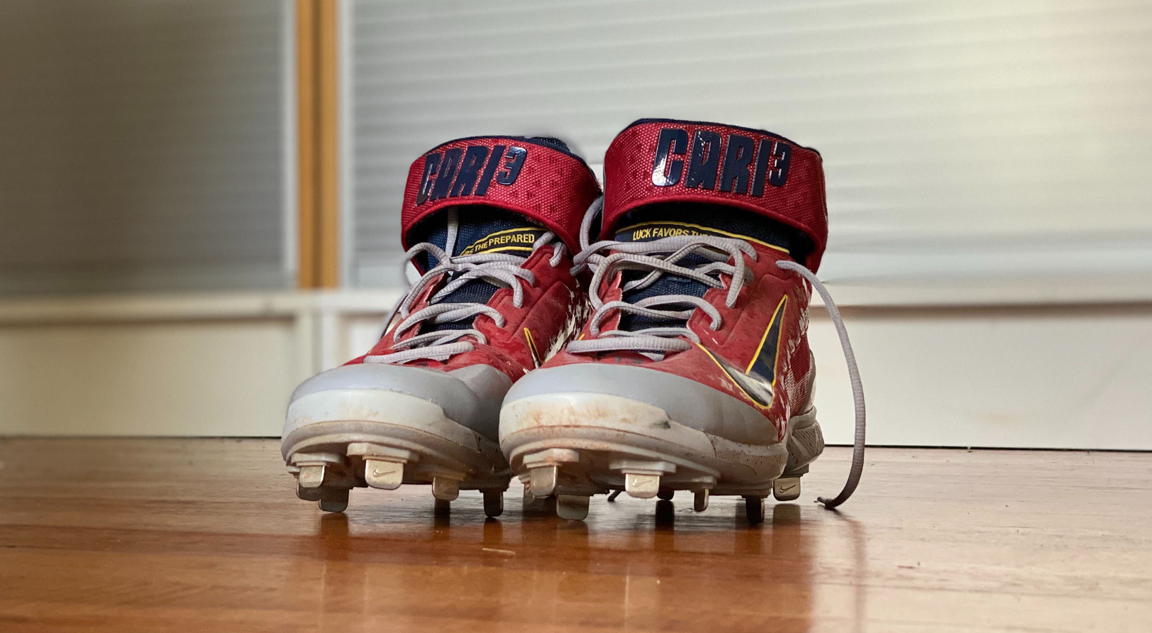 Athlete branding on Matt Carpenter's custom Nike PE cleats