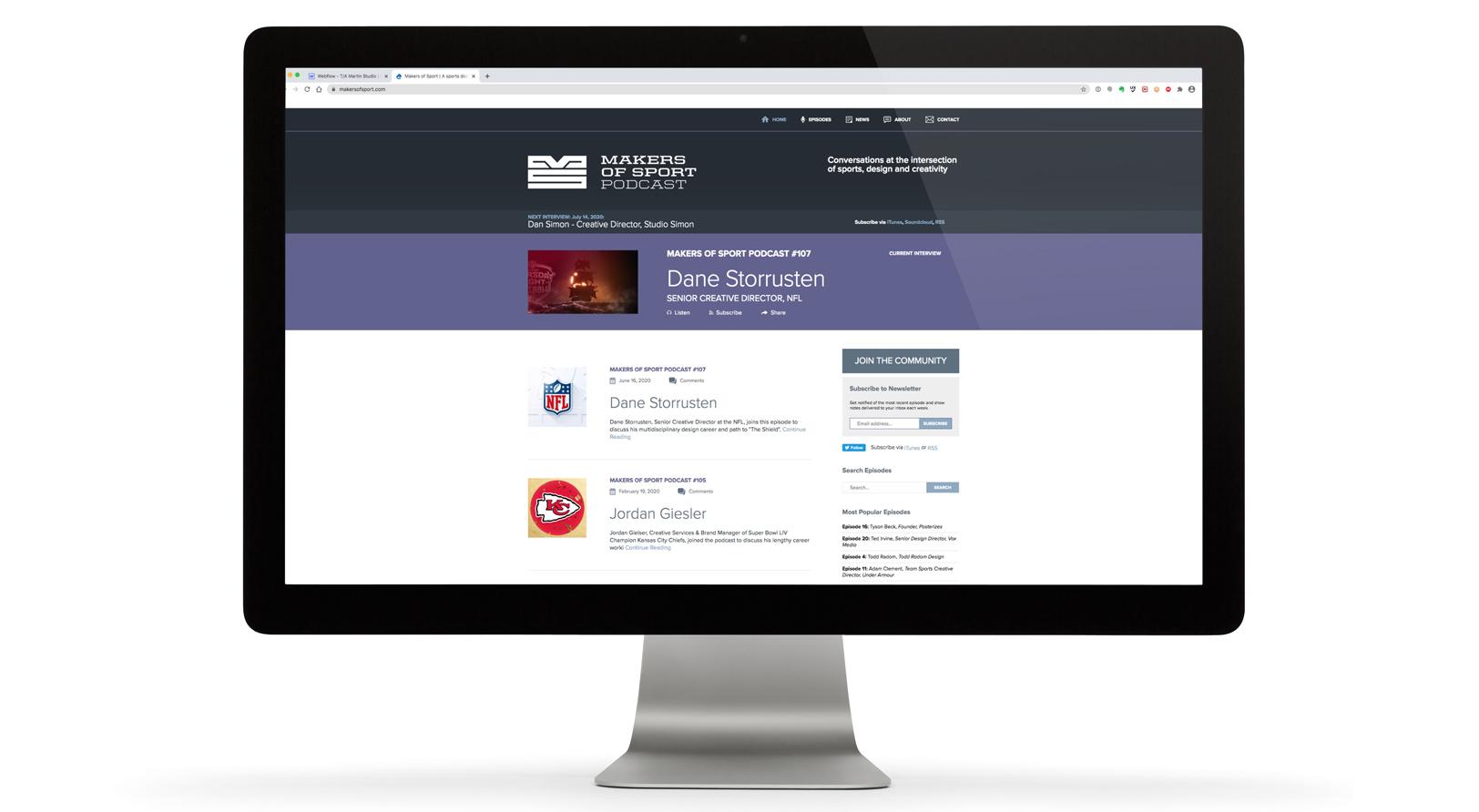Makers of Sport® Website User Interface Design