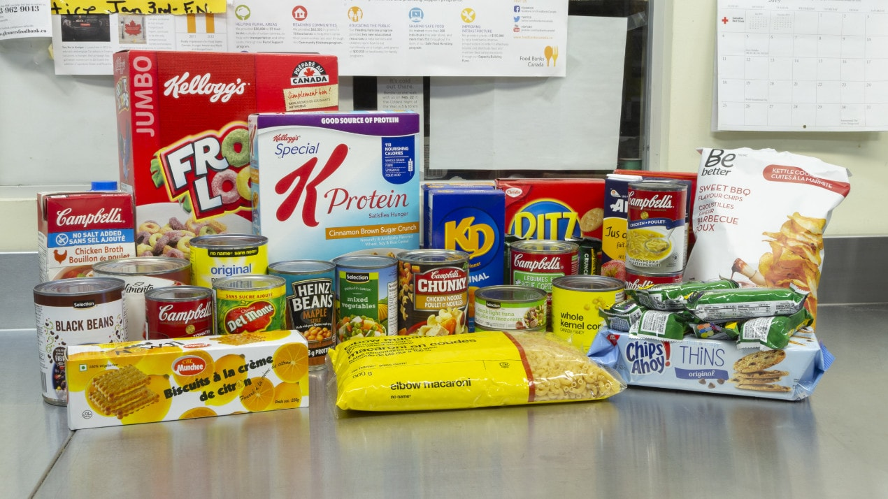 Example of non-perishable foods provided by Gleaners Food Bank in Belleville, Ontario