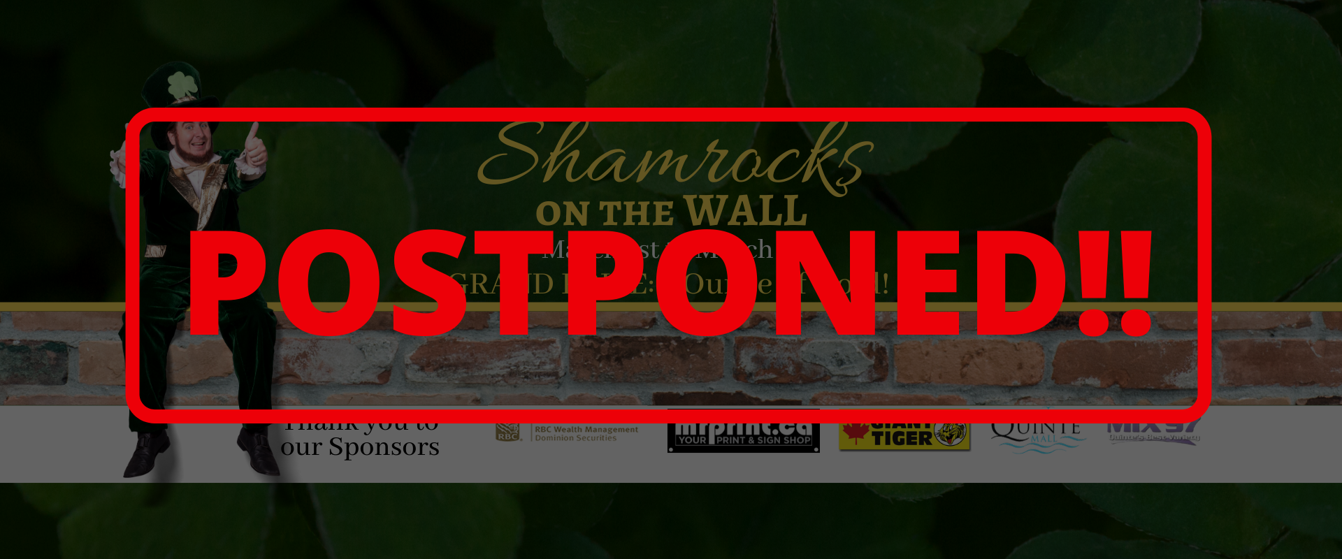 Shamrocks on the Wall event is POSTPONED until further notice