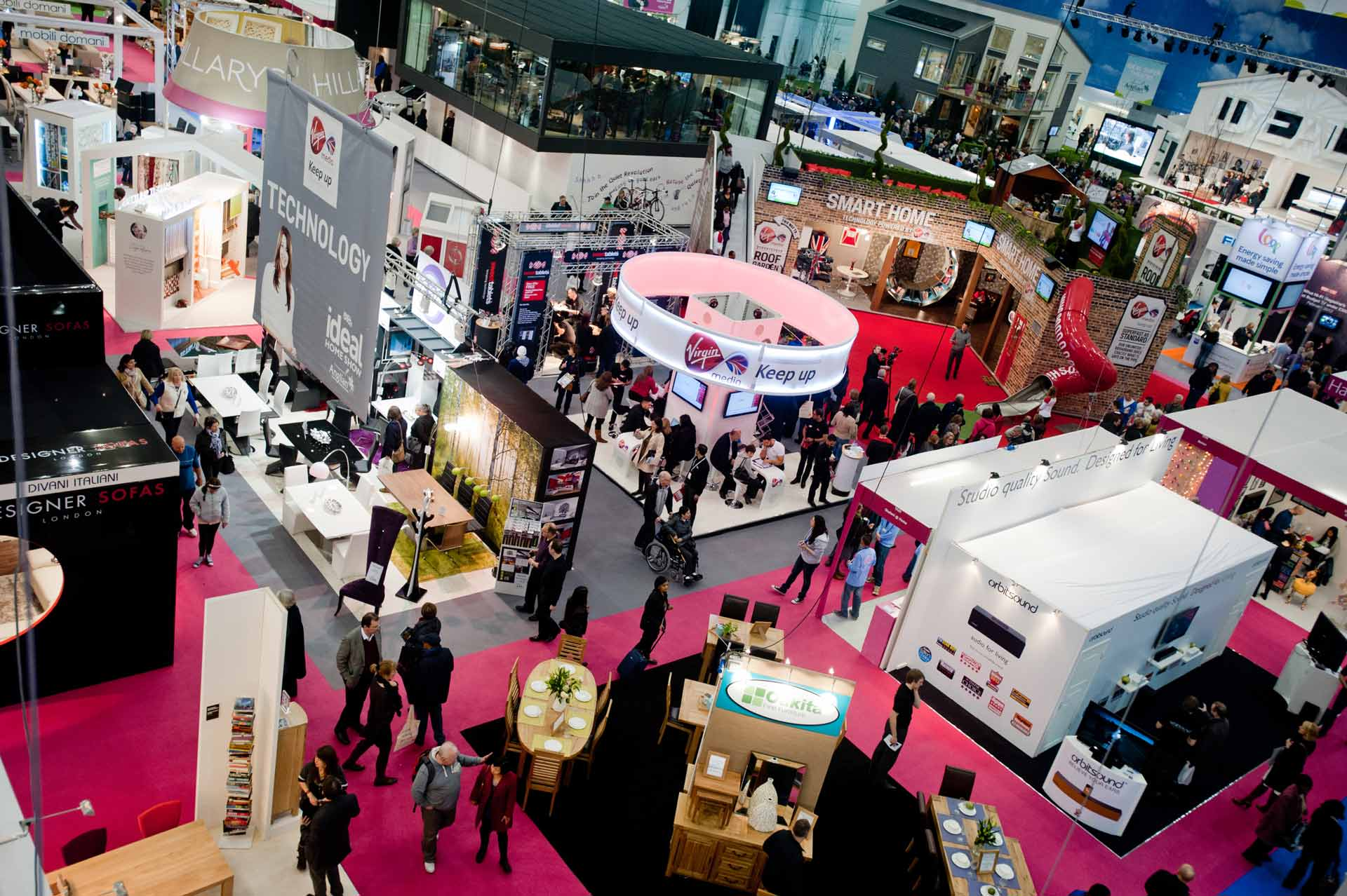 Aerial photo of busy exhibition
