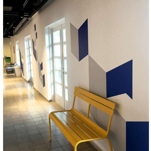 a yello bench in dov hoz center oren lasry tamar bar dayan
